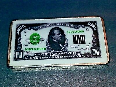 (1) One Ounce .925 Silver $10,000 Bar Bullion Sterling Note Currency Investment