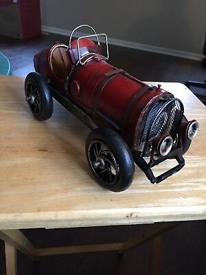 """Antique 1900's Cast Iron Metal Red Boat Tail Race Car Made In China 12"""" Long"""
