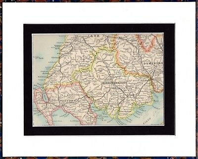 Antique MAP ~ AYR DUMFRIES WIGTOWN KIRKUDBRIGHT Scotland ~ Double Mounted 1893