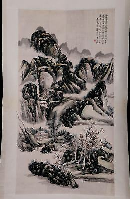 Superb Chinese Old Handwork Landscape Scroll Painting Marked HuangBinHong KK762