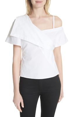 d209651062019b $465 Theory Women's White Asymmetric Cold Shoulder Fold Over Petite Top  Size S