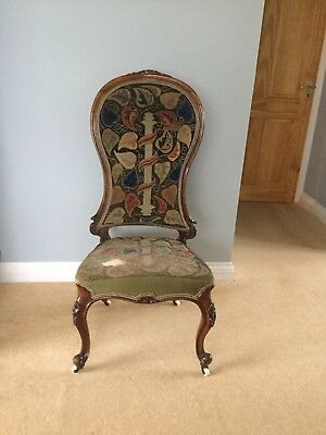 Victorian Walnut Tapestry Upholstered Chair