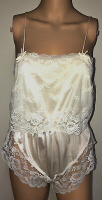 Vintage White Sheer Nylon Lacy Sissy 1 Piece Teddy Lingerie Nightgown Hi Thigh M