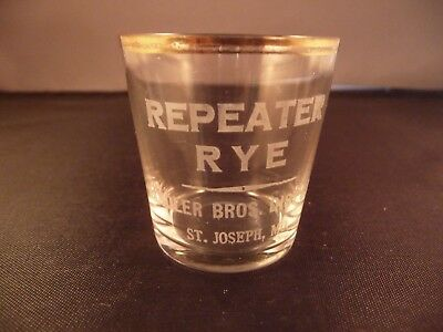 """Vtg Antique Pre-Pro """"Repeater Rye"""" Thin Wall Shot Glass"""