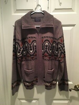 Vintage 1970's Full Zip Ski Dude Sweater Dimension By Milford Large USA Men's
