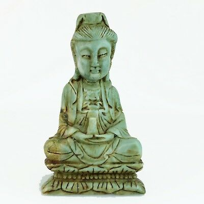 Vintage Hand Carved Natural Jade 'Sitting Guanyin' Good Luck Chinese Collection