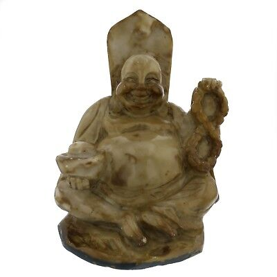 Vintage Hand Carved Natural Jade 'Happy Buddha' Good Luck Chinese Collection