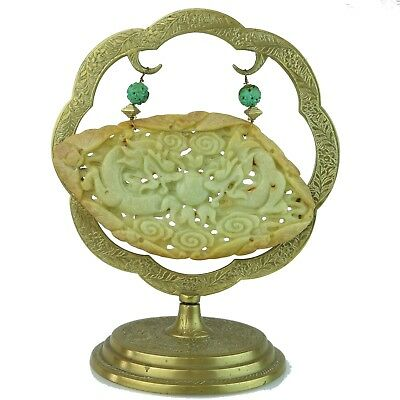 Vintage Hand Carved Natural Jade 'Hanging On' Good Luck Chinese Collection