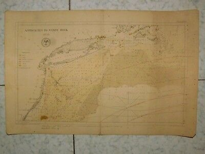 1855 United States Hydrographical Office Approaches To Sandy Hook Carte Us Rare
