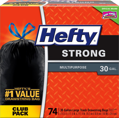 Hefty Strong Large 30 Gallon Trash Bags - Multipurpose - Drawstring - 74 Count