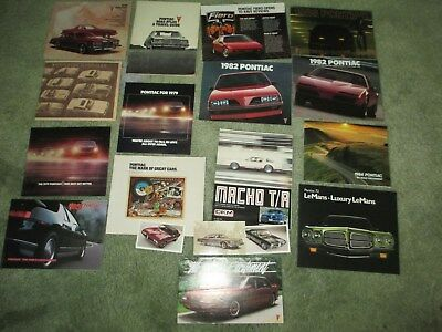 20 1970s-1990s PONTIAC SALES BROCHURE LOT most NEW FIERO 1972 LeMANS MACHO T/A