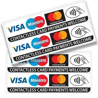 4 x Contactless Credit Card Payments Stickers Taxi Shop Window VISA Mastercard