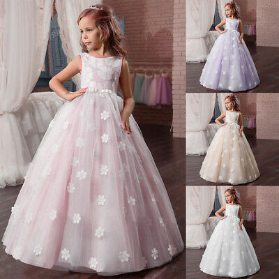 Flower Girls Princess Dress Formal Ball Gown for Kid's Pageant Wedding Communion