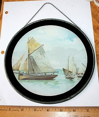 Vintage Stove Chimney Pipe Flue Cover Chimney Sailboats Boats Picture TIn Glass