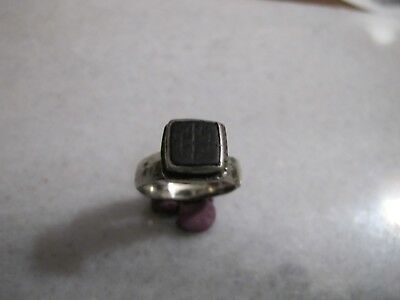 Antique  Medieval Crusader Silver Ring Engraved Cross Onyx Stone