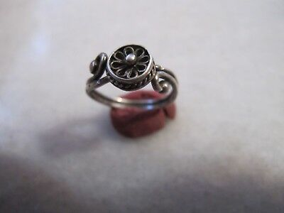 Antique Late Medieval Silver  Filigree Ring