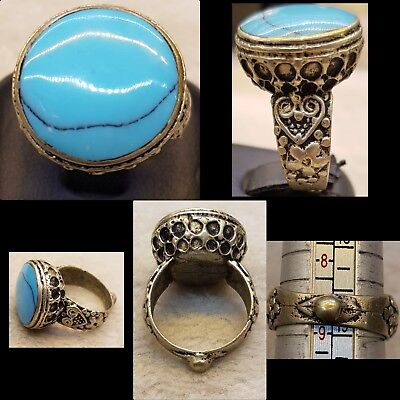 Wonderful Turquoise Stone Vintage Old Mix Silver Medieval Ring   #6b