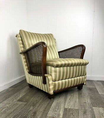 Stunning Art Deco Bentwood Armchairs, Club Chair With Rattan Detail.