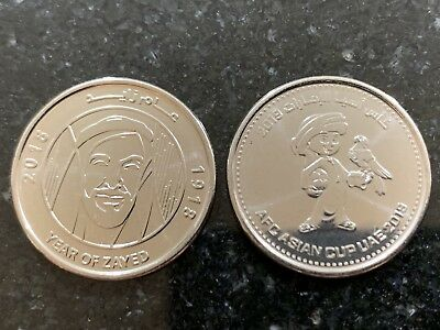 UAE 1 Dirham Coin Commem 2019 2018 Year Of Zayed And Asian Football Cup UNC