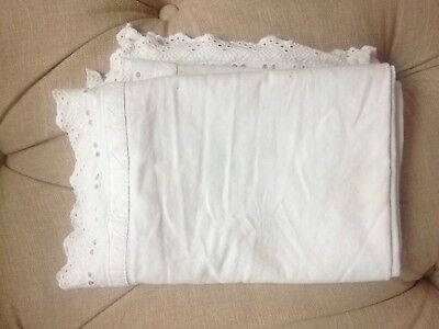 White IKEA table runner with lace edge trim, Shabby Chic style