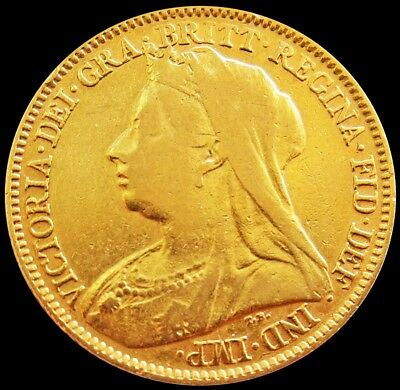 1897 Gold Great Britain 1/2 Sovereign 3.99 Grams Mature Bust Victoria Coin