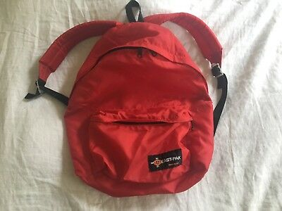 Vintage Eastpak Made In Usa Red Nylon Backpack 70s Day Pack Book Bag