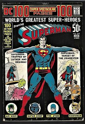 Superman #245 1971- DC 100 page giant- Air Wave- Atom- Hawkman FINE