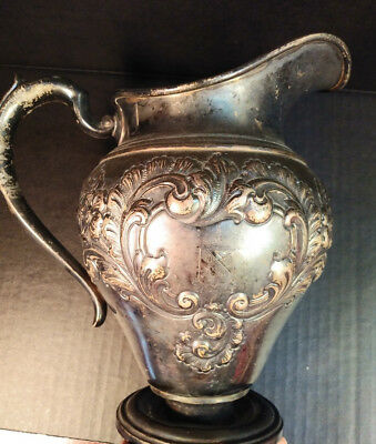Antique Sterling Water Pitcher by Int'l - Hand Chased 4pt - 1943 - 22oz weight