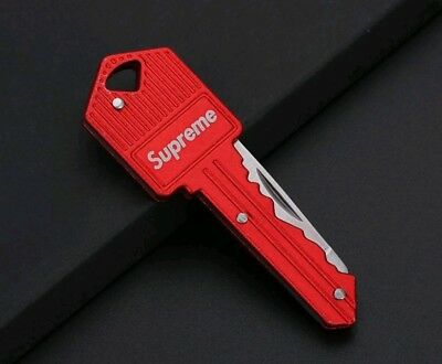 New RED 2018 Supreme Keychain Key Knife Box Logo Ships from USA