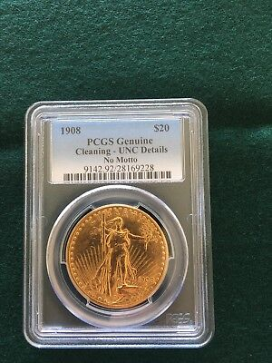 1908 $20 St Gaudens No Motto - Gold Double Eagle - PCGS