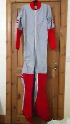 Mens handmade very tall slim skydiving jumpsuit grey & red, excellent condition