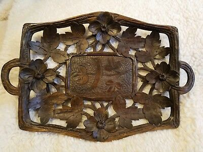 Beautiful hand carved ANTIQUE wooden tray.