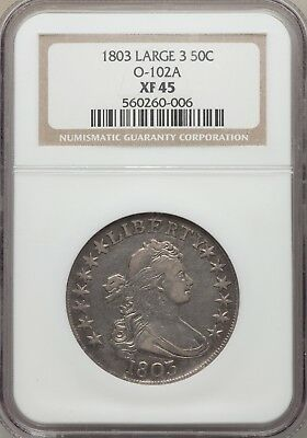 1803 50C Large 3, Small Reverse Stars, O-102a, T-2, High R.3, XF45 NGC.