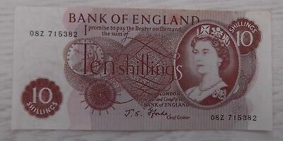 10/- Shilling Note With Cashier John Standish Fforde 1966-1970 UK Currency Old