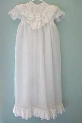 Vtg Dress Baptism Gown Claire Schwartz Sheer Baby Ivory White Christening Lace
