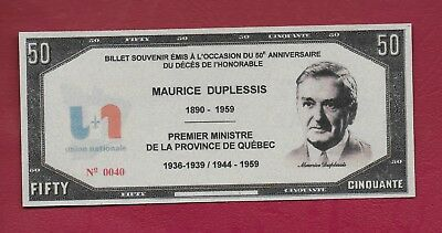 Canadian Political Script Note - Maurice Duplessis - Province of Quebec