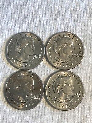 Lot of 4 Susan B Anthony Silver Dollars All 1979