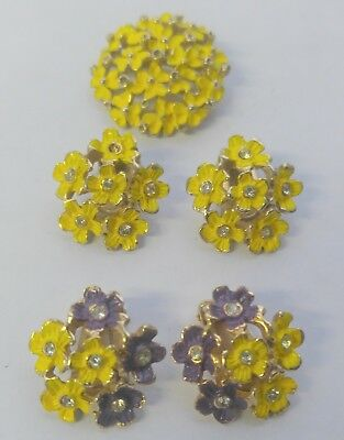 Vintage Floral Costume Jewelry Earring and Brooch Lot (4oz)