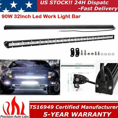 90W 32INCH Single Row LED Work Light Bar Spot&Flood Combo Driving Lamp UTE TRUCK