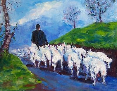 Fred Kepler  Oil Painting Following Ewe 11x14 Cape Breton Sheep .