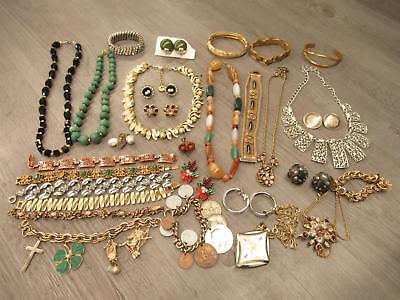 Lot of Vintage Costume Jewelry Cameo Earrings Coin Bracelet Necklaces AS IS