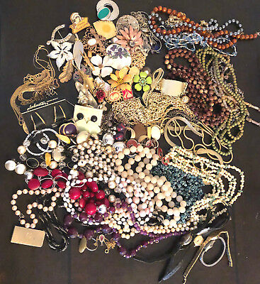Lot of 97 pc Vintage Costume Jewelry Pins Necklaces Bracelets and More