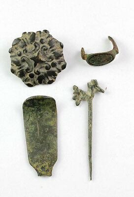 *sc* Lot Of 4 Roman - Byzantine Bronze Antiquities!
