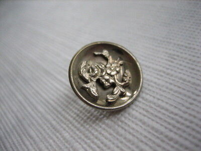 "Vintage Small 11/16"" Metal Dish Button with Plant Life Escutcheon - M92"