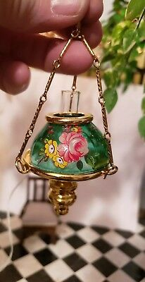 Dollhouse Miniature 24K Gold Plated Hanging  Electrified Lamp Glass Shade