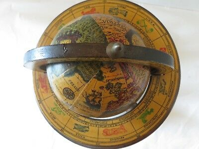 Vintage retro Old World Zona signs globe spins on stand Horoscope made in Italy