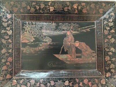 Beautiful hand painted Antique Oriental Toleware Style Wooden Serving Tray