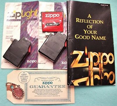 Vintage Zippo collectable advertising lighter inserts, warrenty key fob book