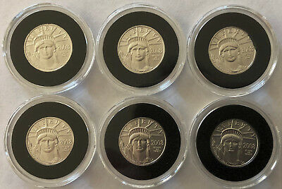 Six 2008 American Eagle $10 Platinum Coins (.6000 APW) -1c Start NO RESERVE!!!