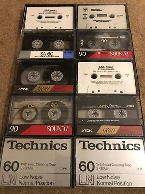 10 x Used Blank Vintage Cassette Tapes. TDK, BASF, Maxell, Technics. Job Lot!